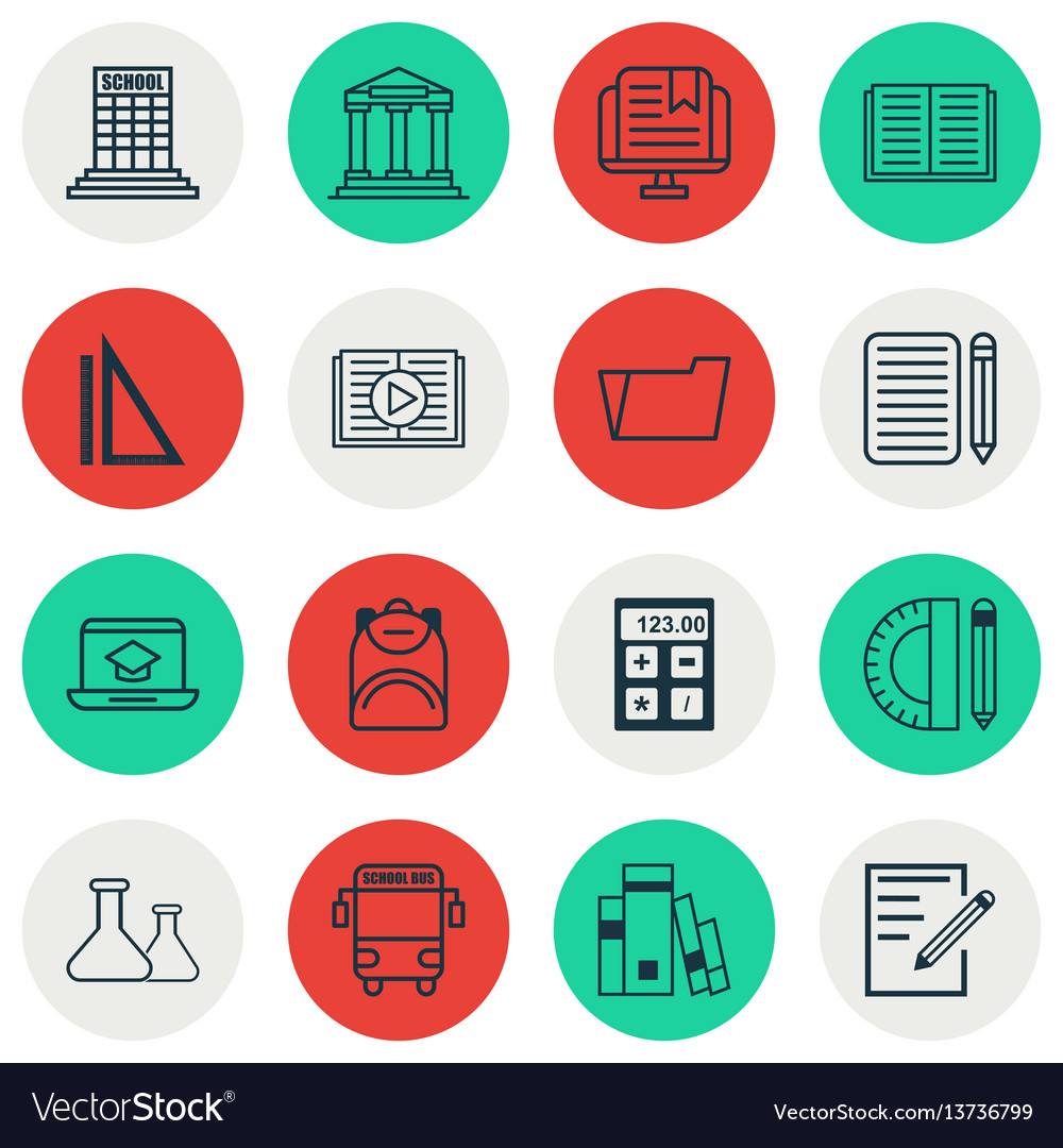 Set of 16 school icons includes distance learning vector image