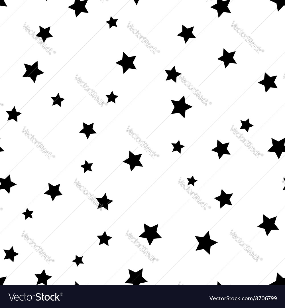Star seamless pattern Black and white retro vector image