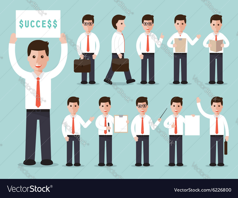 Businessman characters set vector image