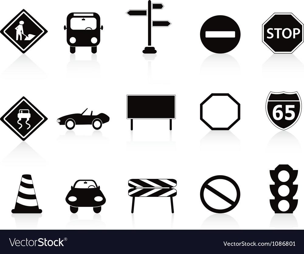 Black traffic sign icons set vector image