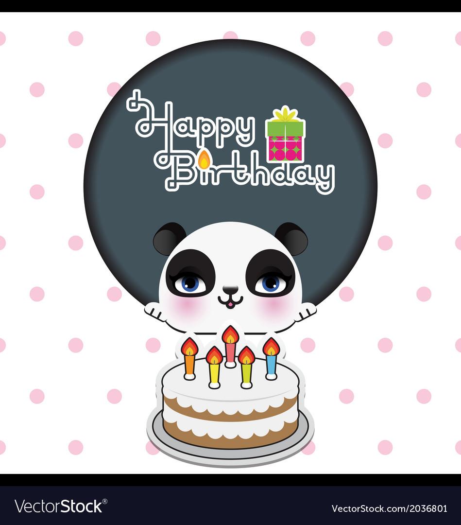Cute panda birthday card royalty free vector image cute panda birthday card vector image bookmarktalkfo Image collections
