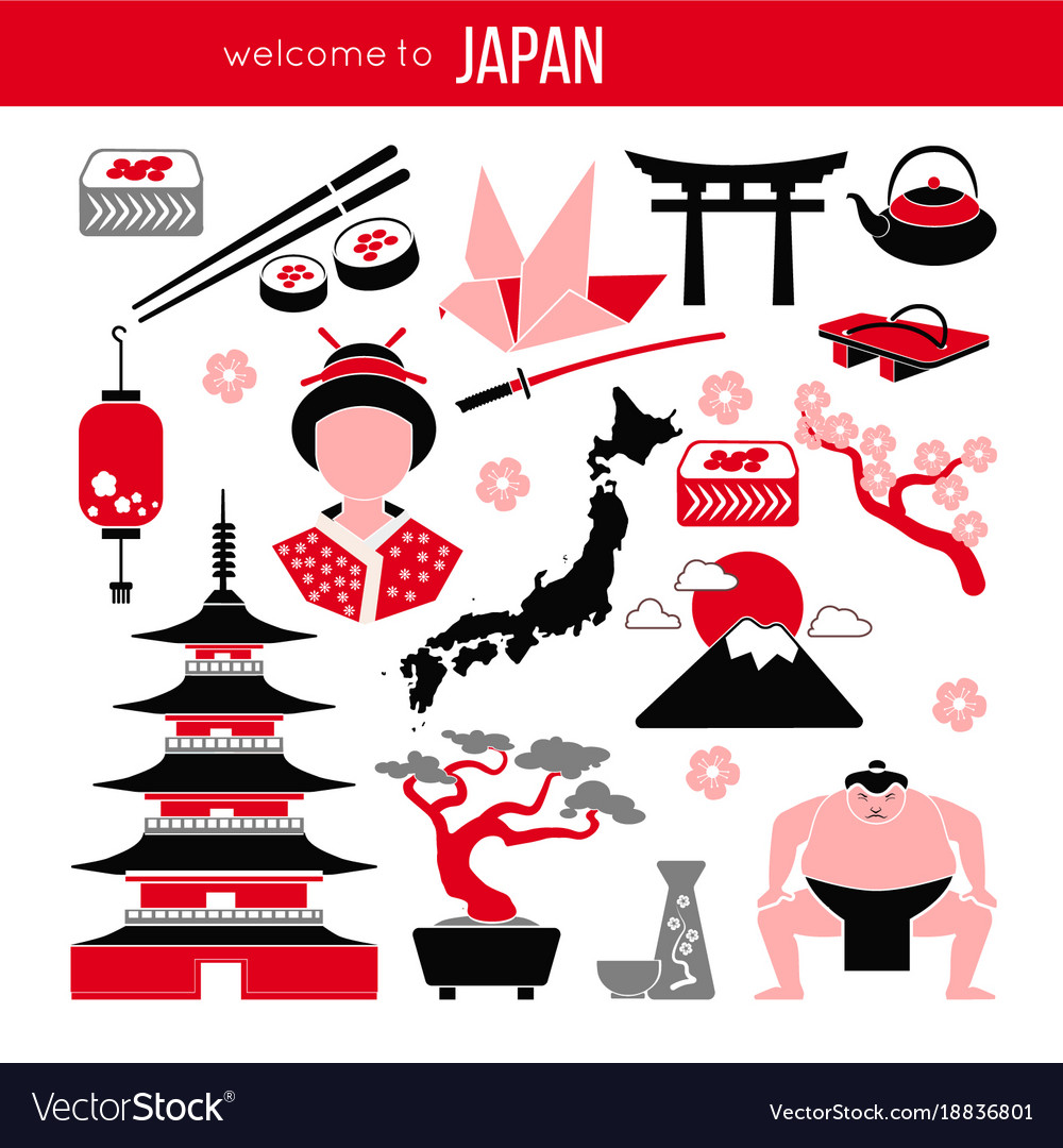 Set of japan tokyo and east culture symbols vector image biocorpaavc Image collections