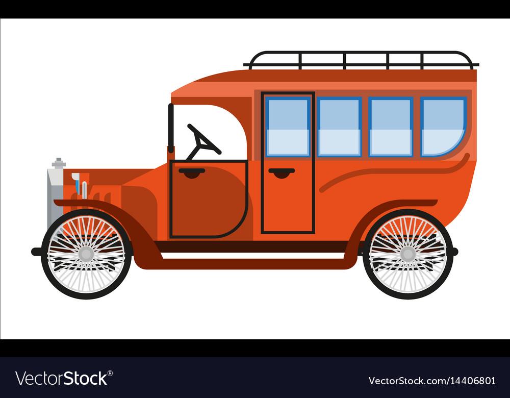 Vintage orange old mini bus isolated on white vector image