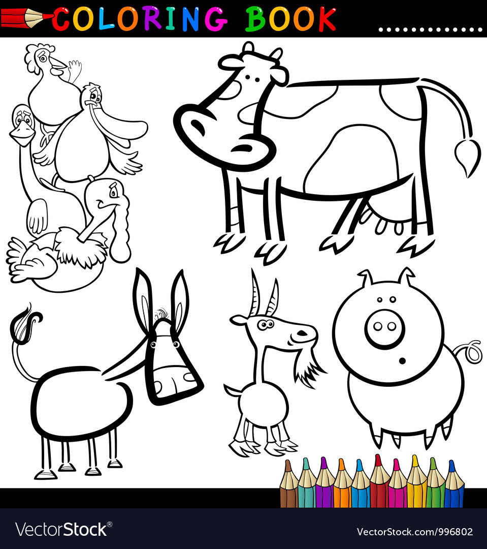 Coloring book pages farm animals - Farm Animals For Coloring Book Or Page Vector Image