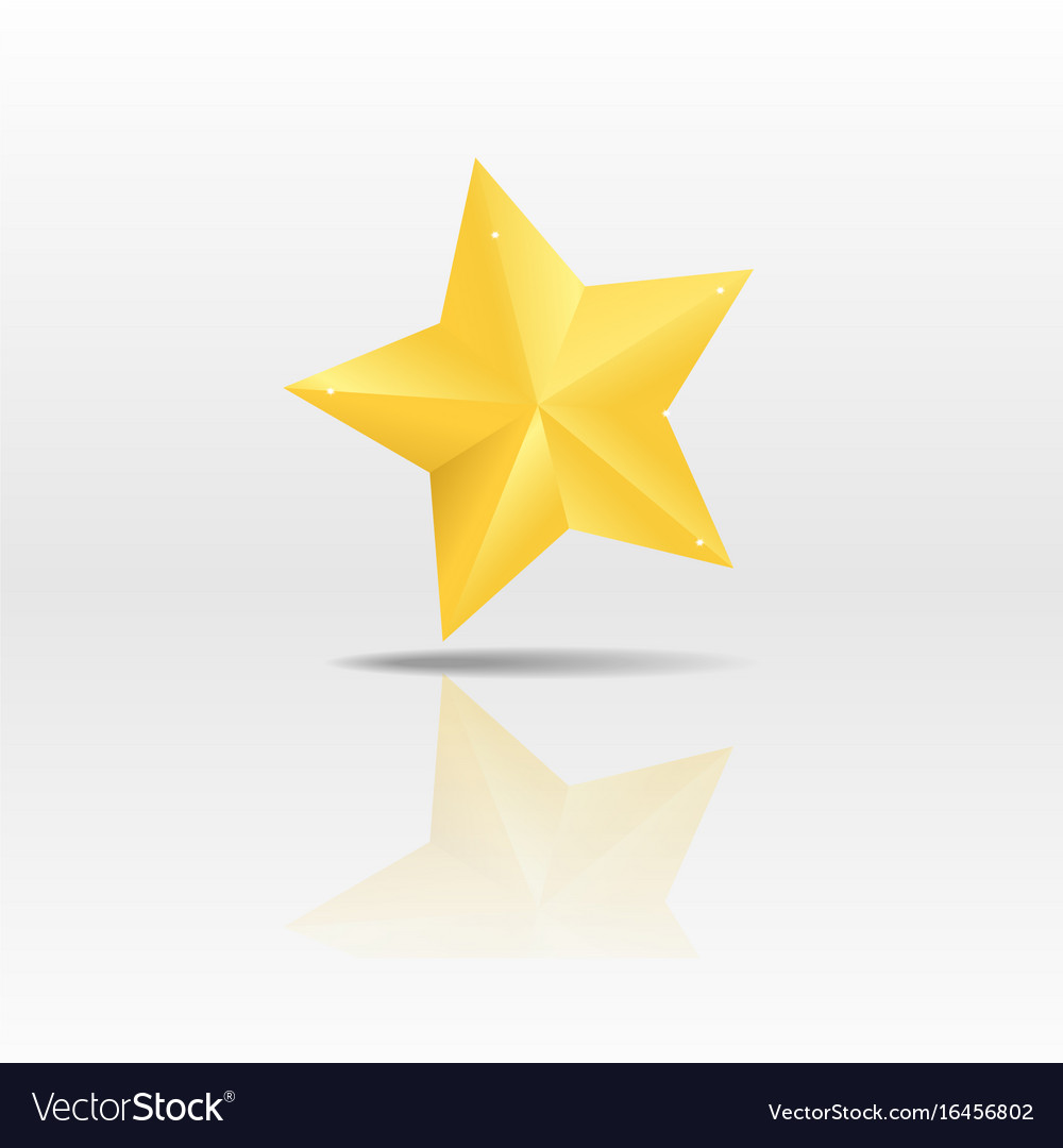 Gold paper star on white background vector image