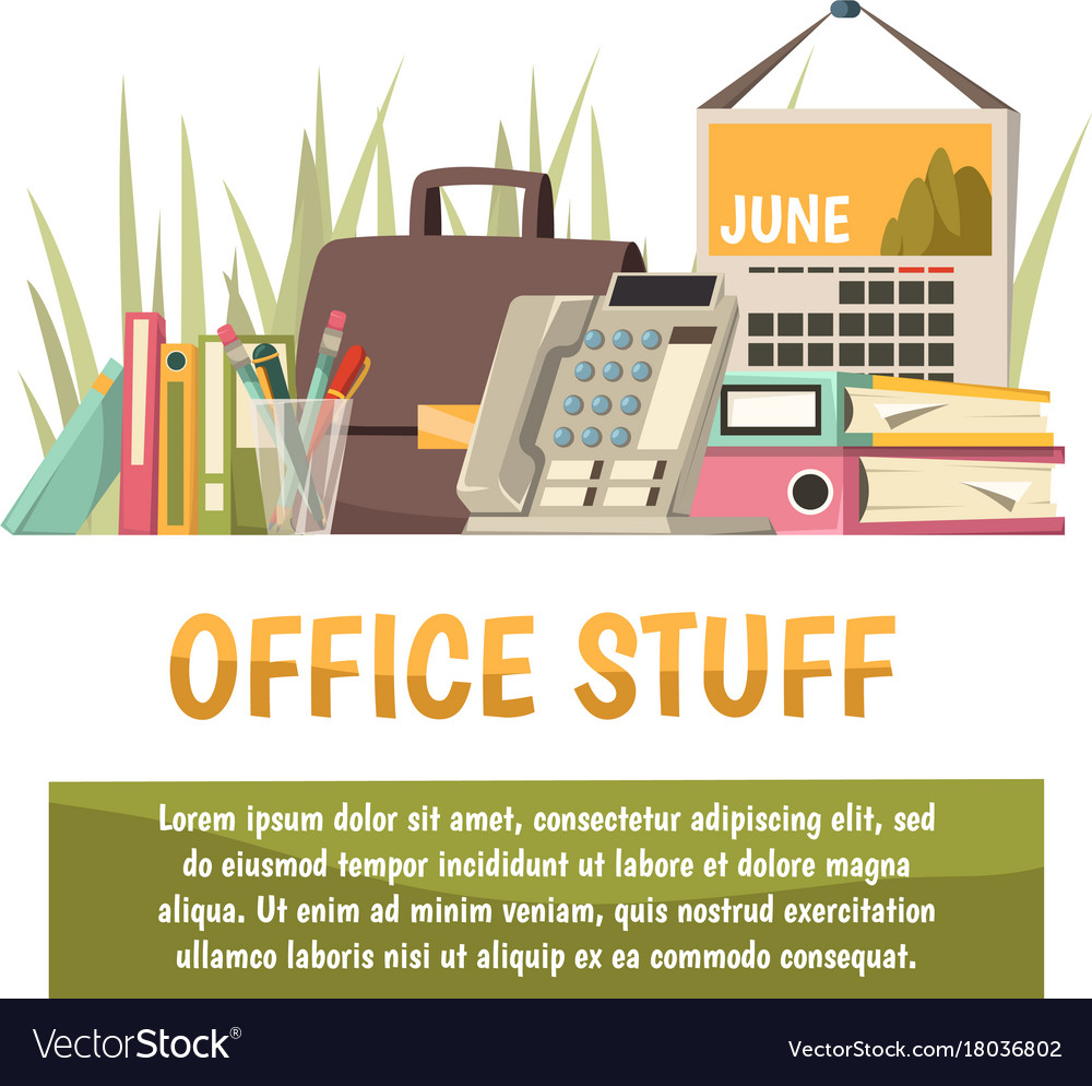 Office flat orthogonal background vector image