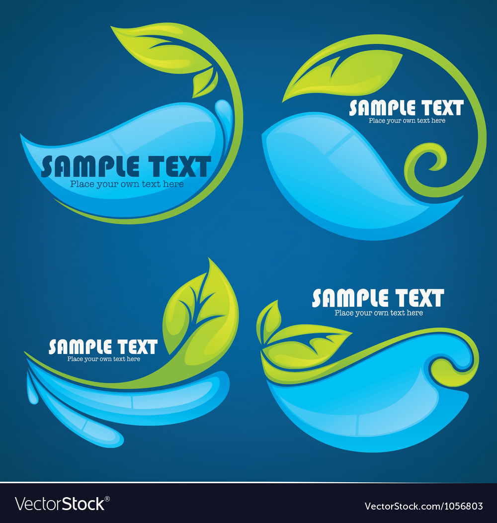 Water and leaves stickers and symbols on blue back vector image