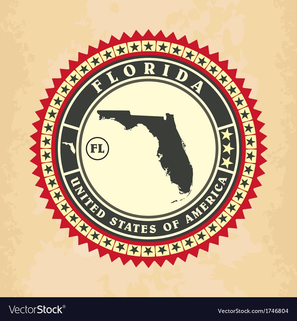 Vintage label-sticker cards of Florida vector image