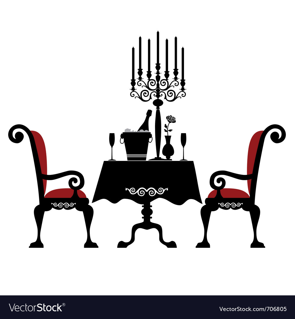 Romantic dinner for two Royalty Free Vector Image