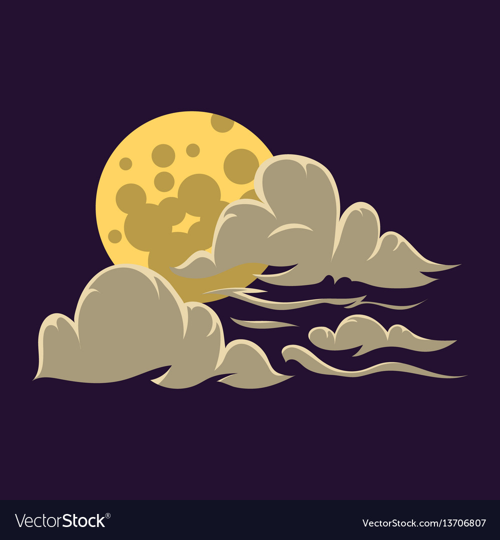 Cartoon moon with clouds nature cosmos cycle vector image
