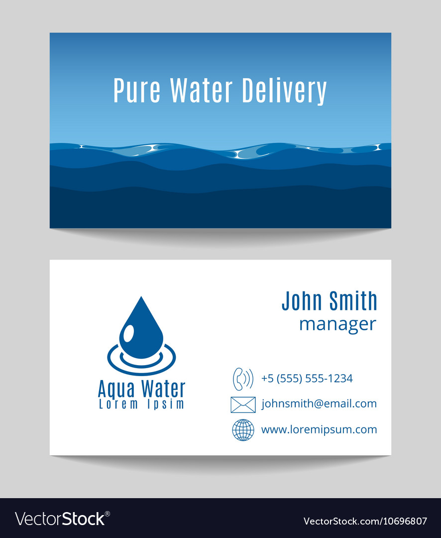 Pure water delivery business card template vector image colourmoves Choice Image