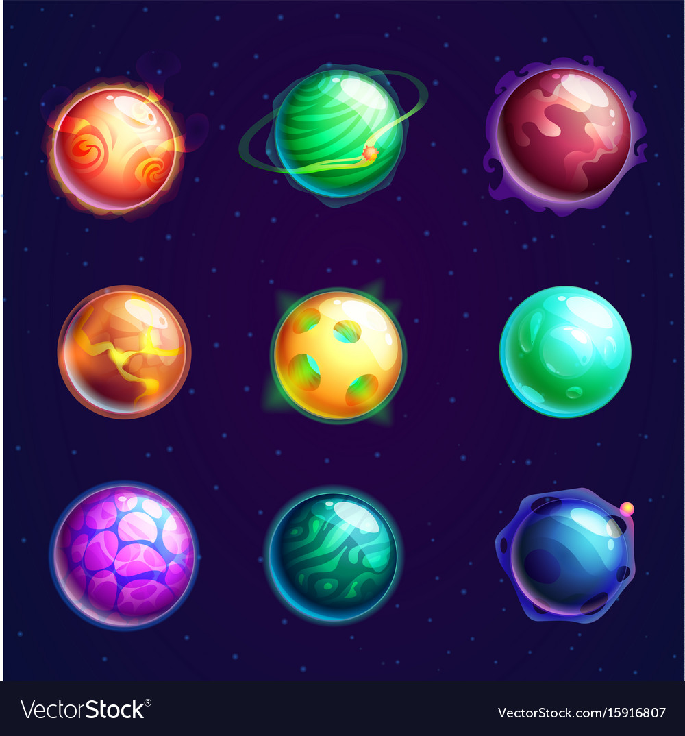 Set of isolated cartoon planets with satellites vector image