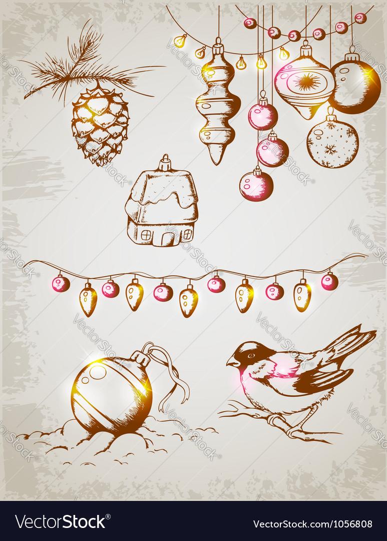 Christmas decoration retro vector image
