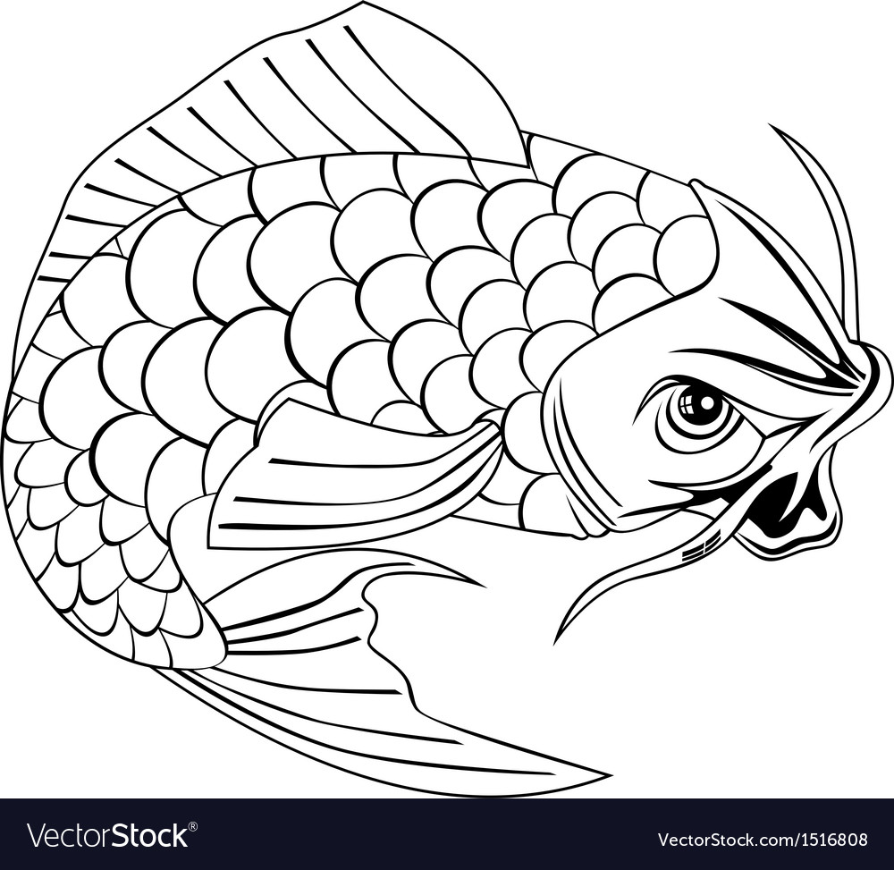 Koi Carp Fish Jumping Line Drawing vector image