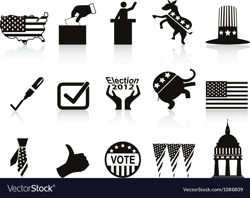 Black election icons set vector image
