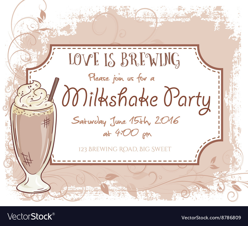 Hand drawn milkshake party invitation card vintage