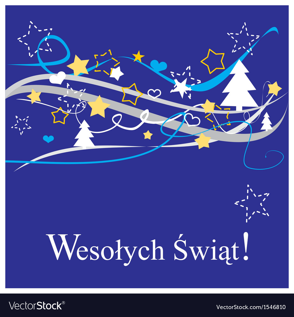 Christmas card in polish Wesolych Swiat vector image