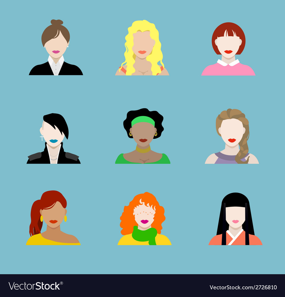 Female Flat Icons vector image