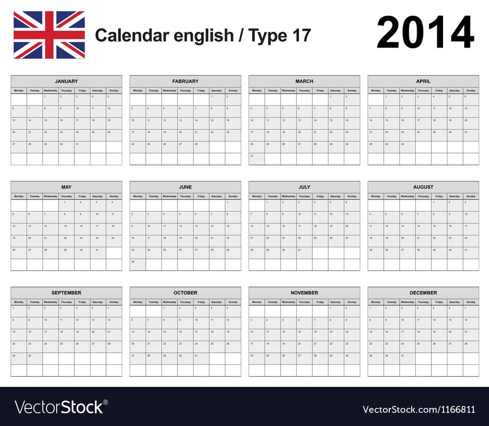 Calendar 2014 English Type 17 vector image