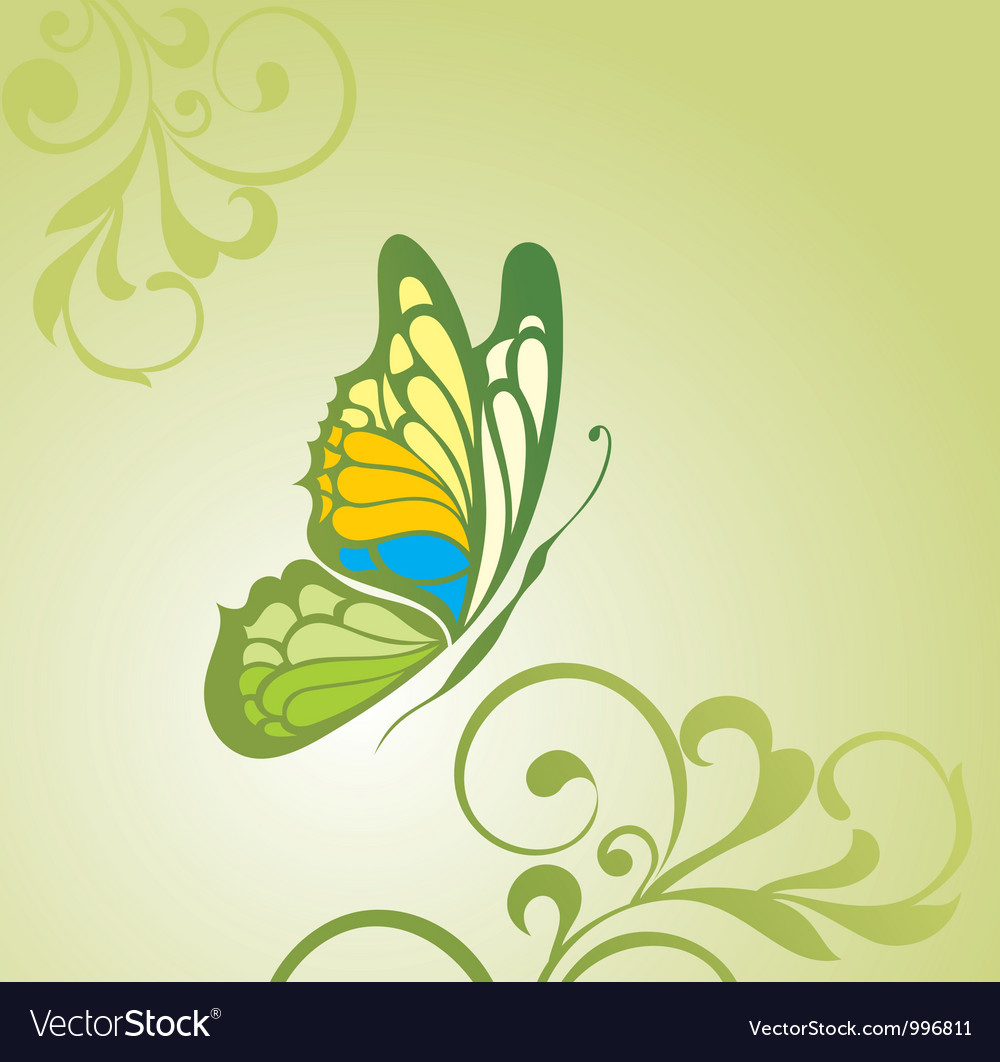 Background with butterfly vector image