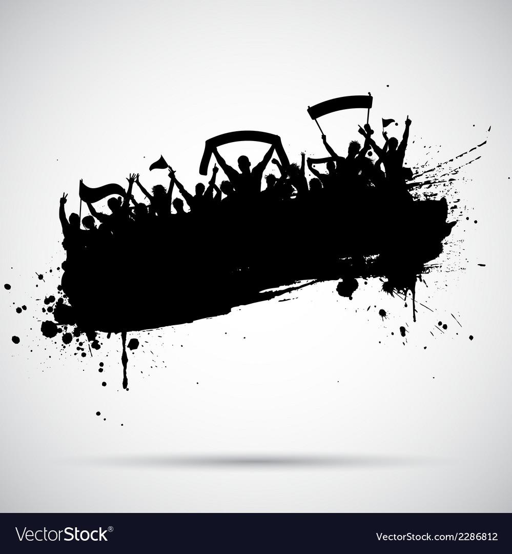 Grunge football crowd vector image