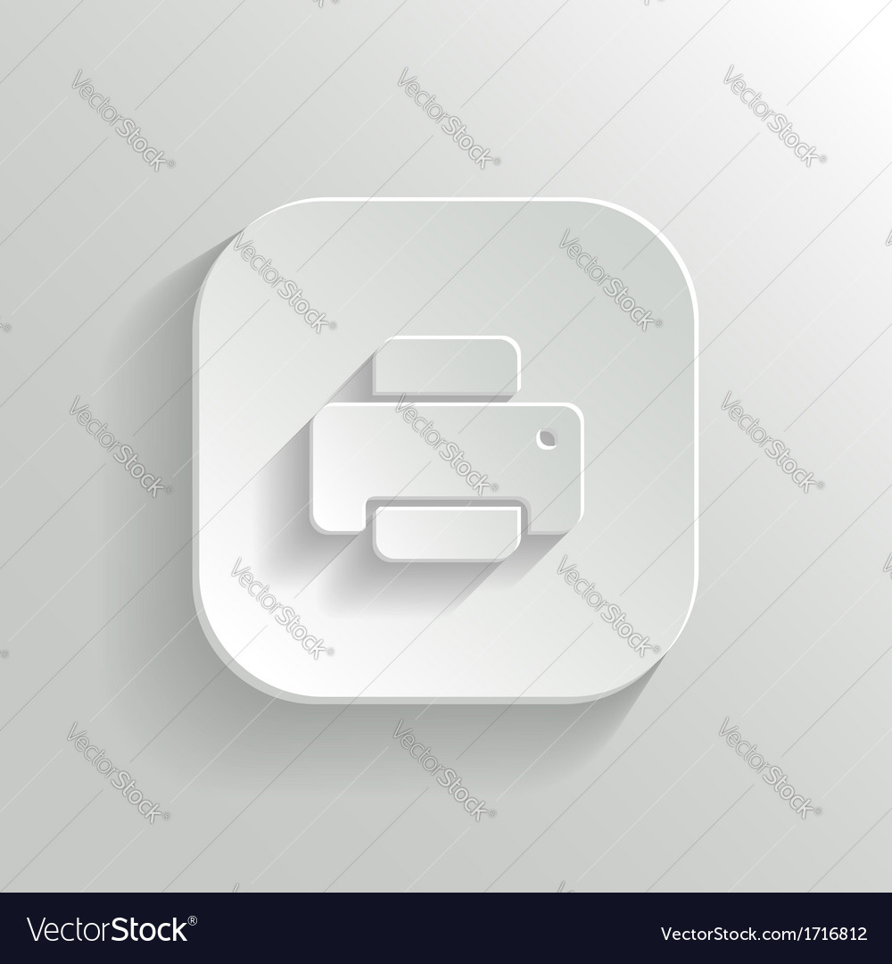Printer icon - white app button vector image