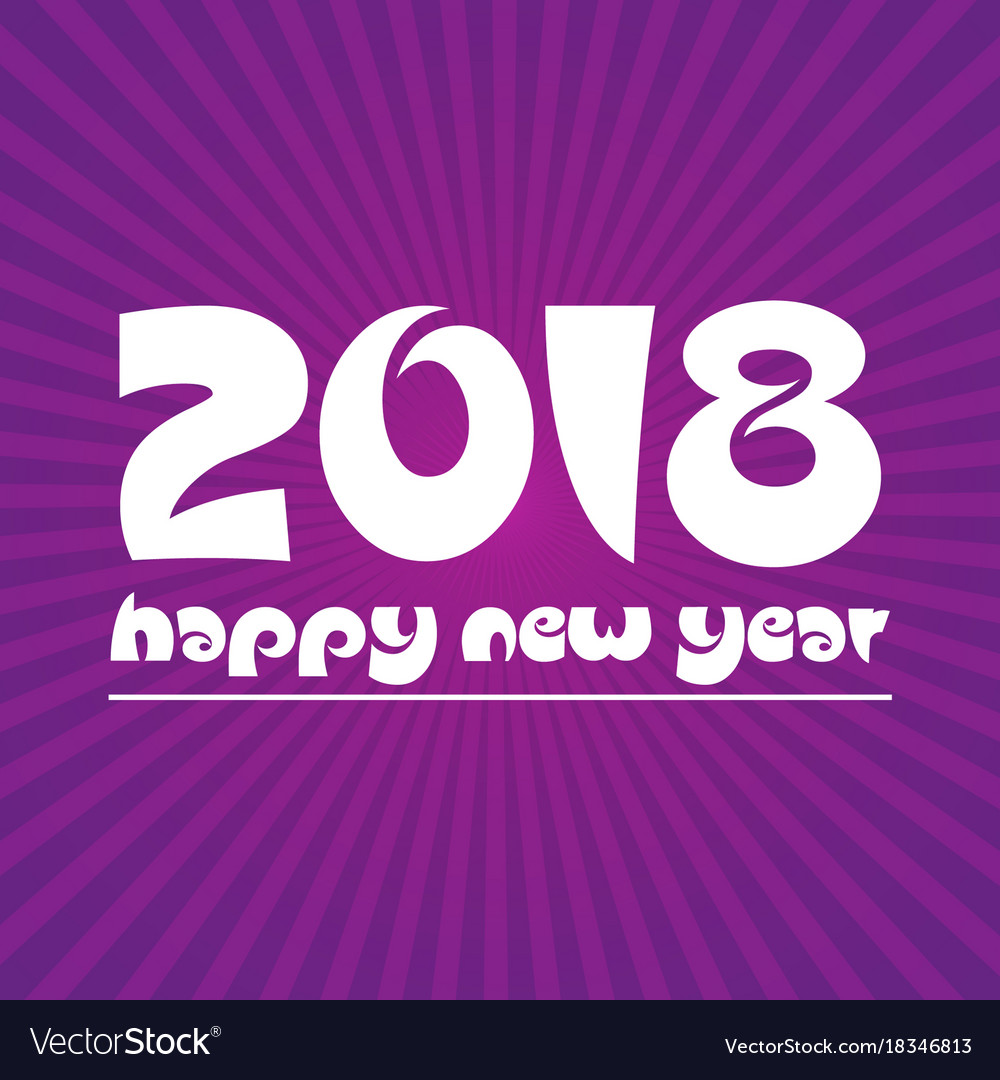 Happy new year 2018 on purple stripped background vector image
