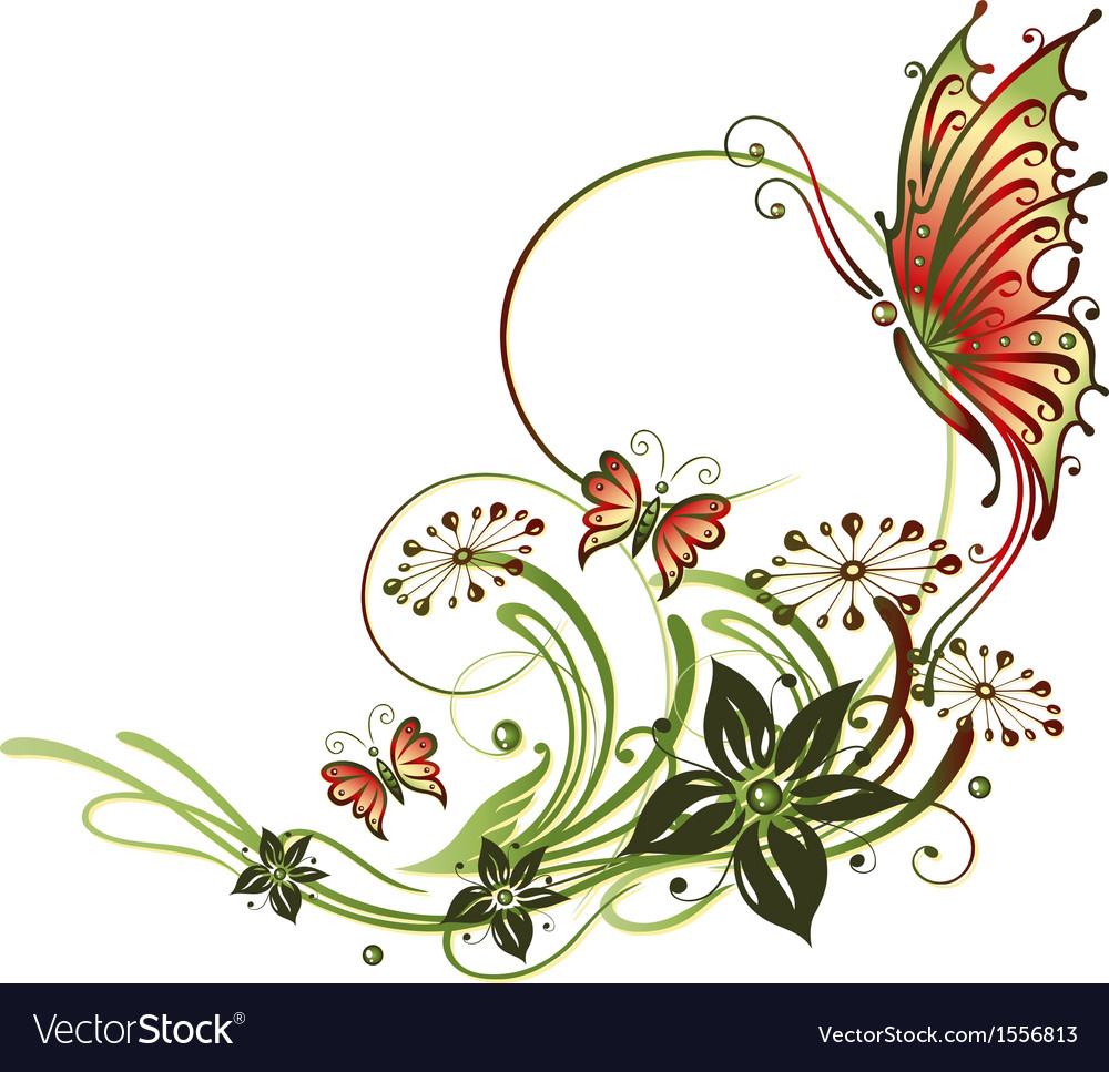 tendril butterflies flowers royalty free vector image
