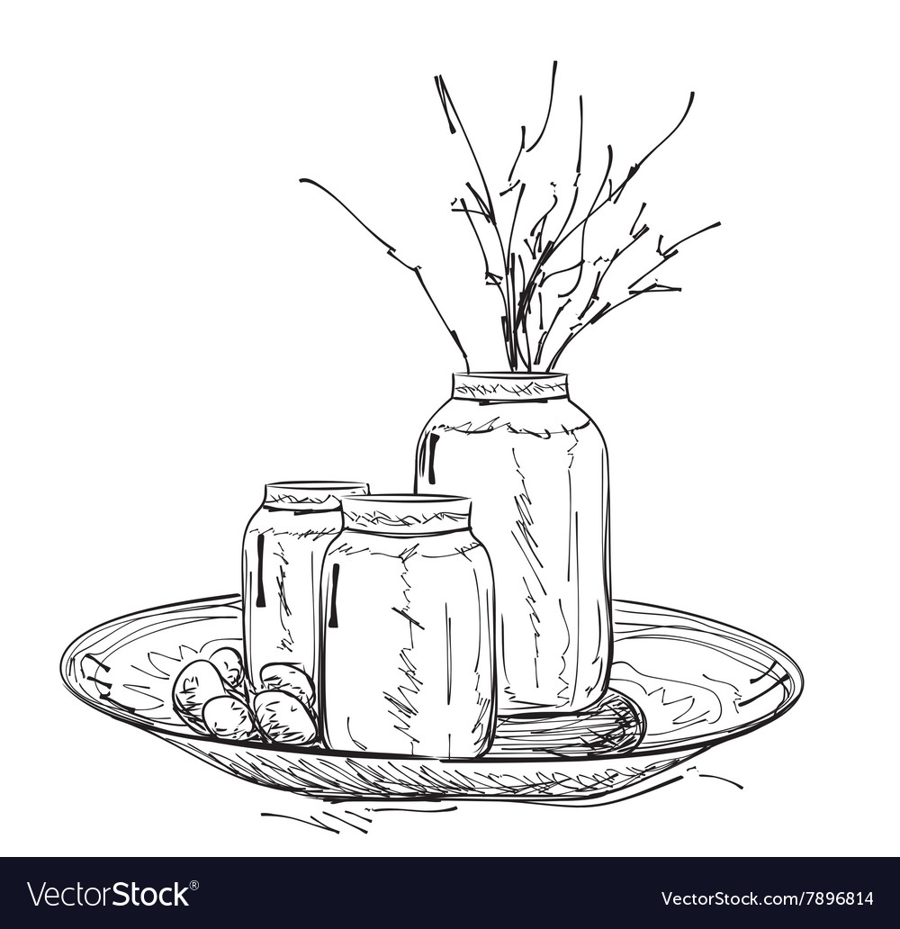 Cartoon vase with branches Spring vector image