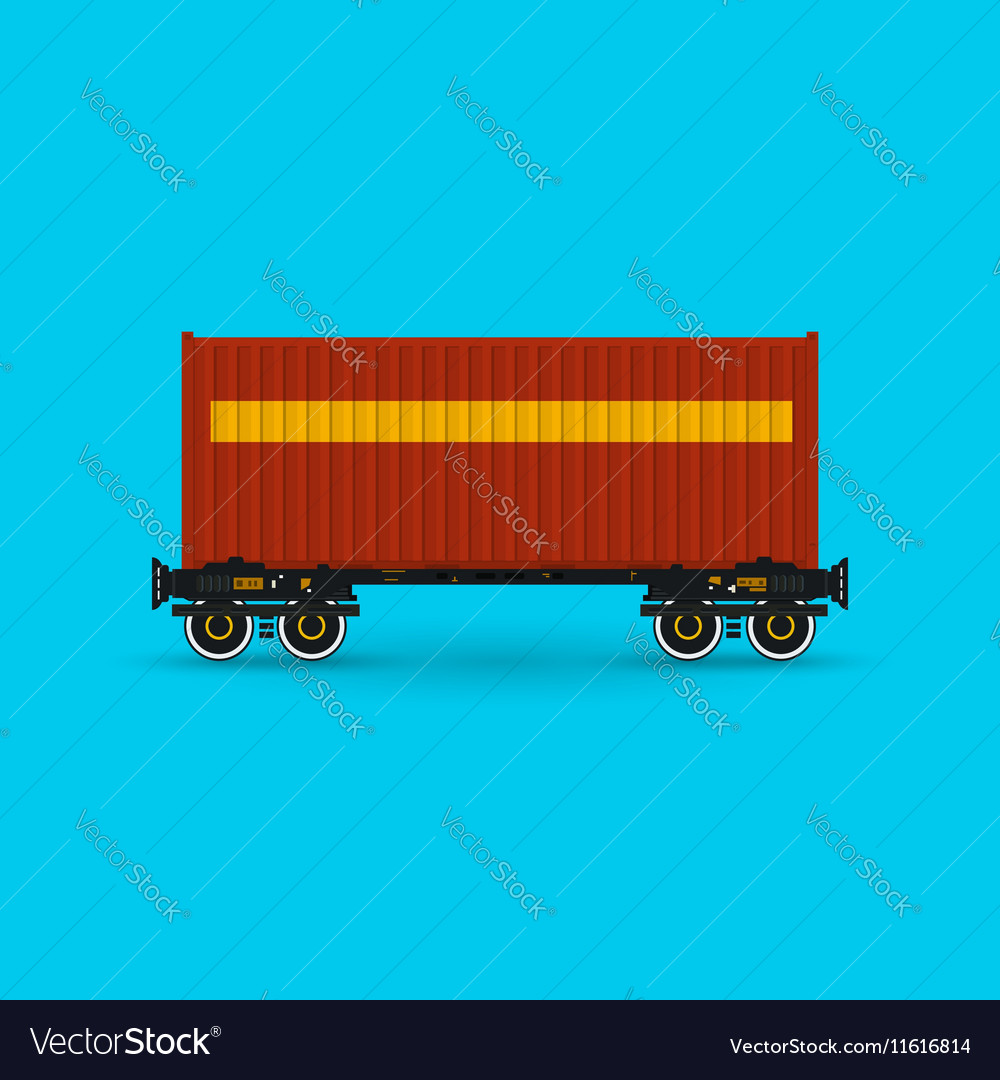 Platform with Red Container Isolated vector image
