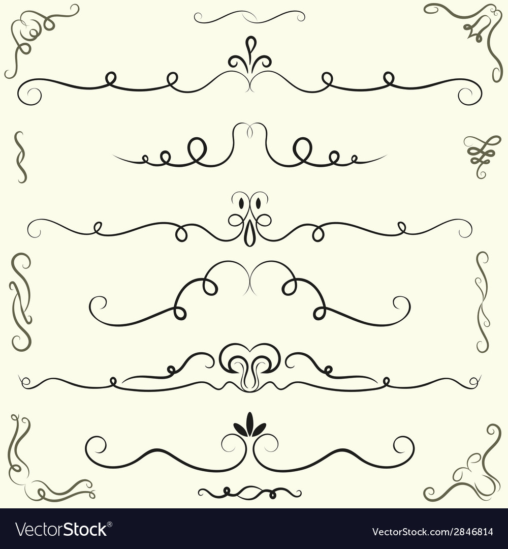 Set of calligraphic design elements and page vector image
