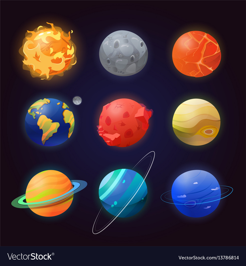 Set of isolated solar system planets and sun vector image