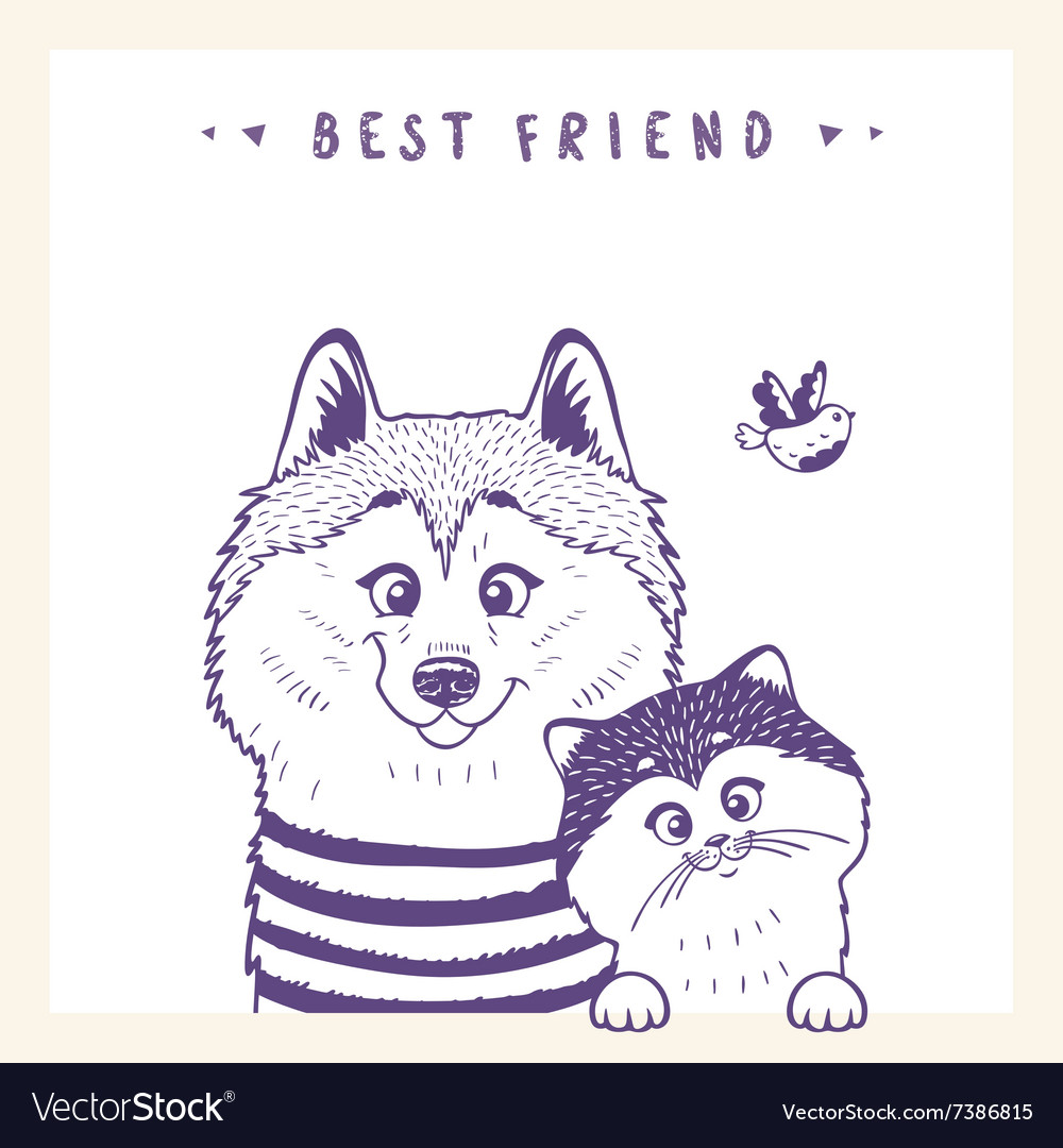 Husky and cat vector image