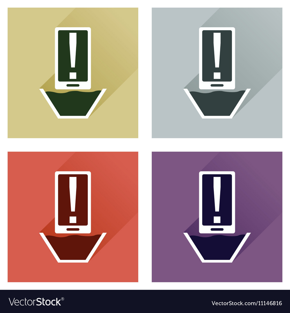 Concept of flat icons with long shadow mobile