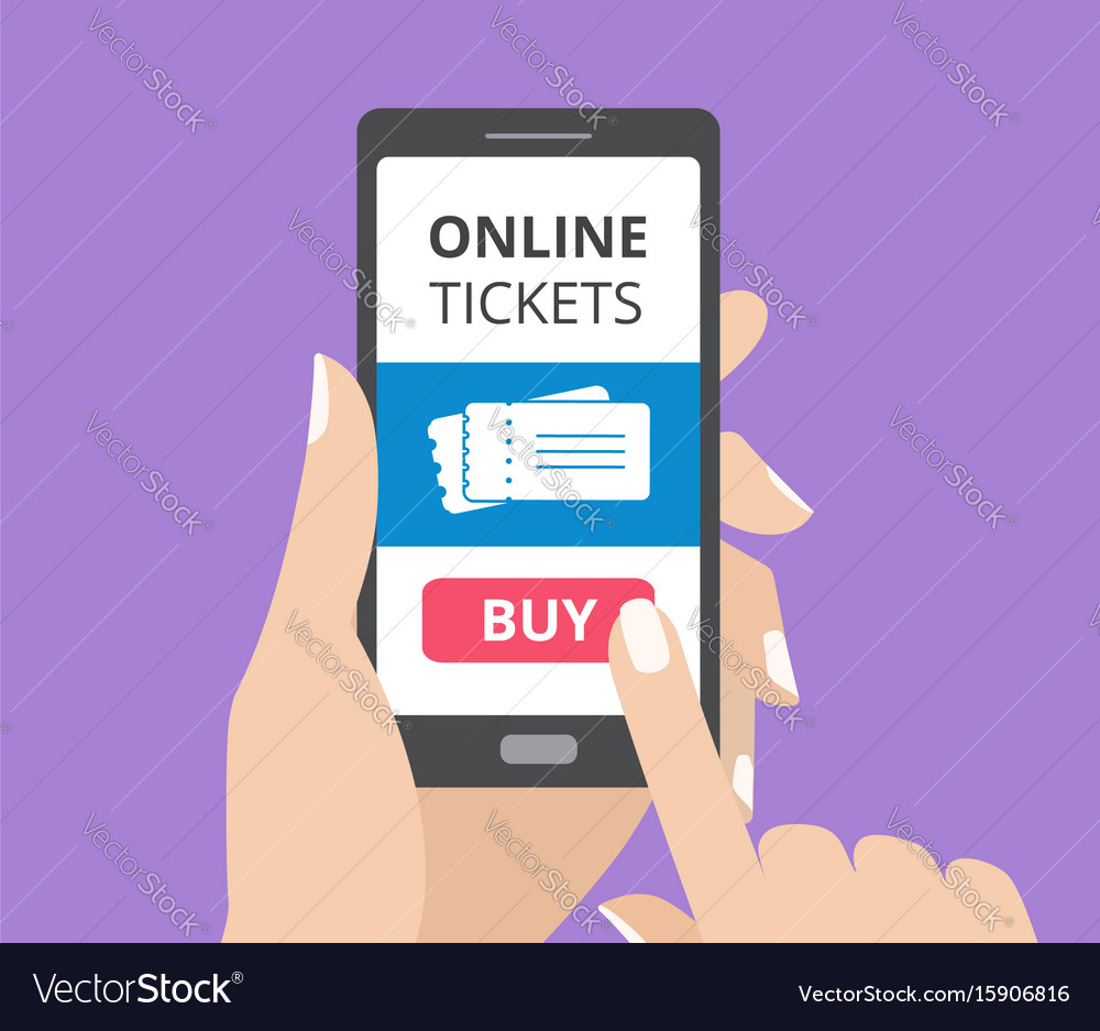 Hand holding smartphone with buy button and vector image