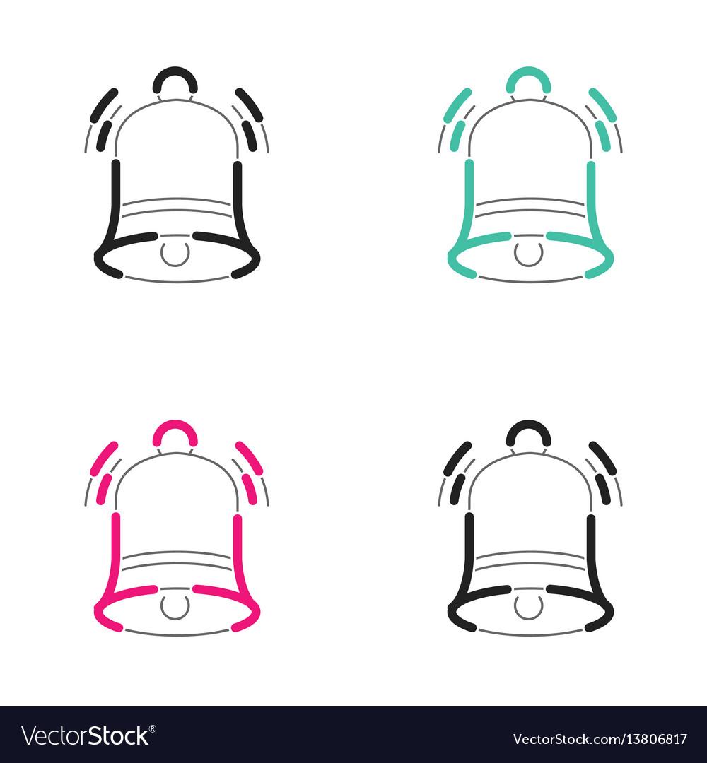 Christmas bell icon neon light vector image
