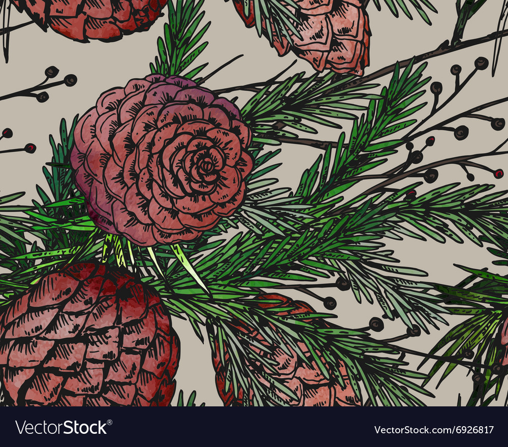 Seamless pattern with hand drawn winter plants vector image
