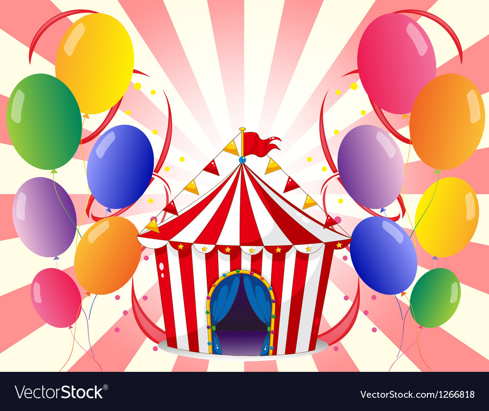 A red circus tent with balloons vector image  sc 1 st  VectorStock & A red circus tent with balloons Royalty Free Vector Image