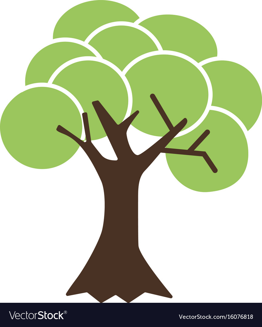Flat color tree icon Royalty Free Vector Image
