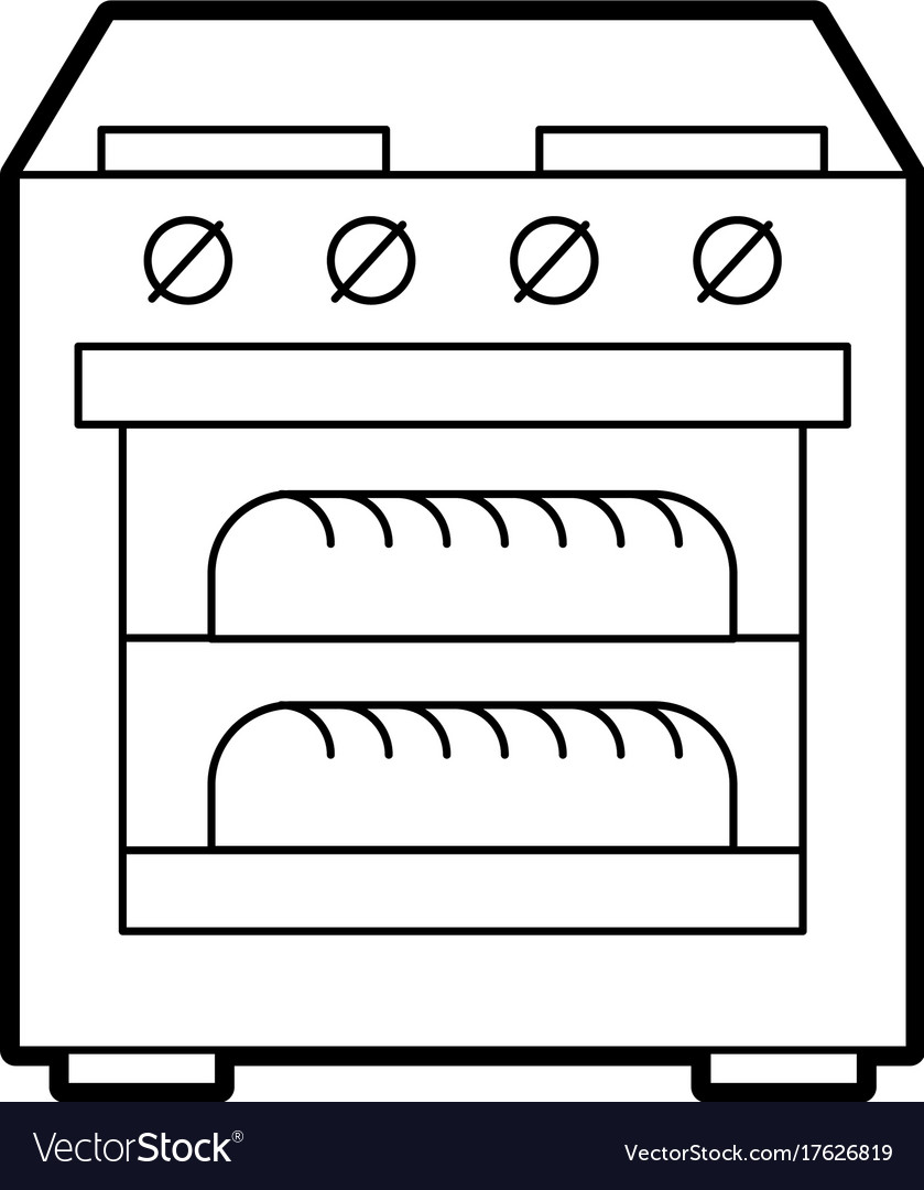 Stove oven with two hot bread icon Royalty Free Vector Image