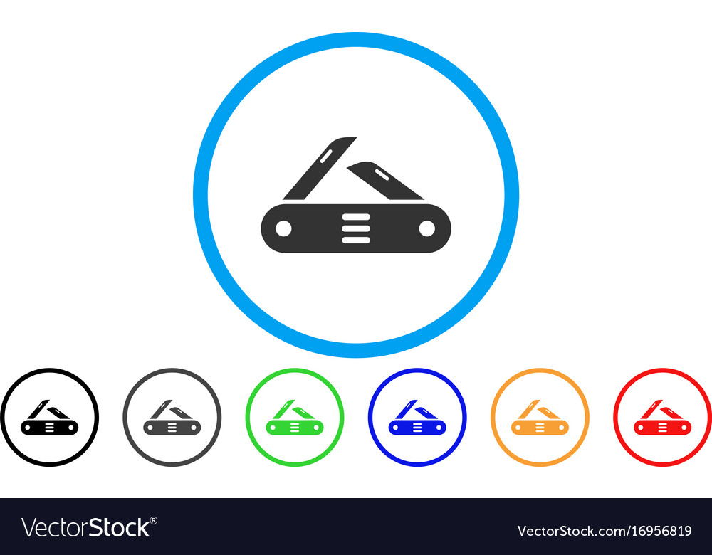 Swiss multitool knife rounded icon vector image
