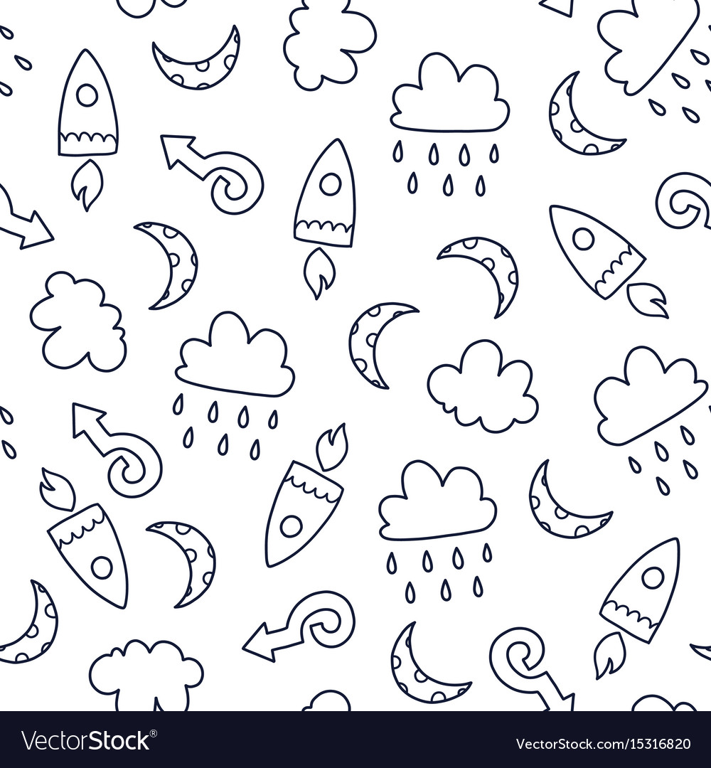 Doodles cute seamless pattern vector image