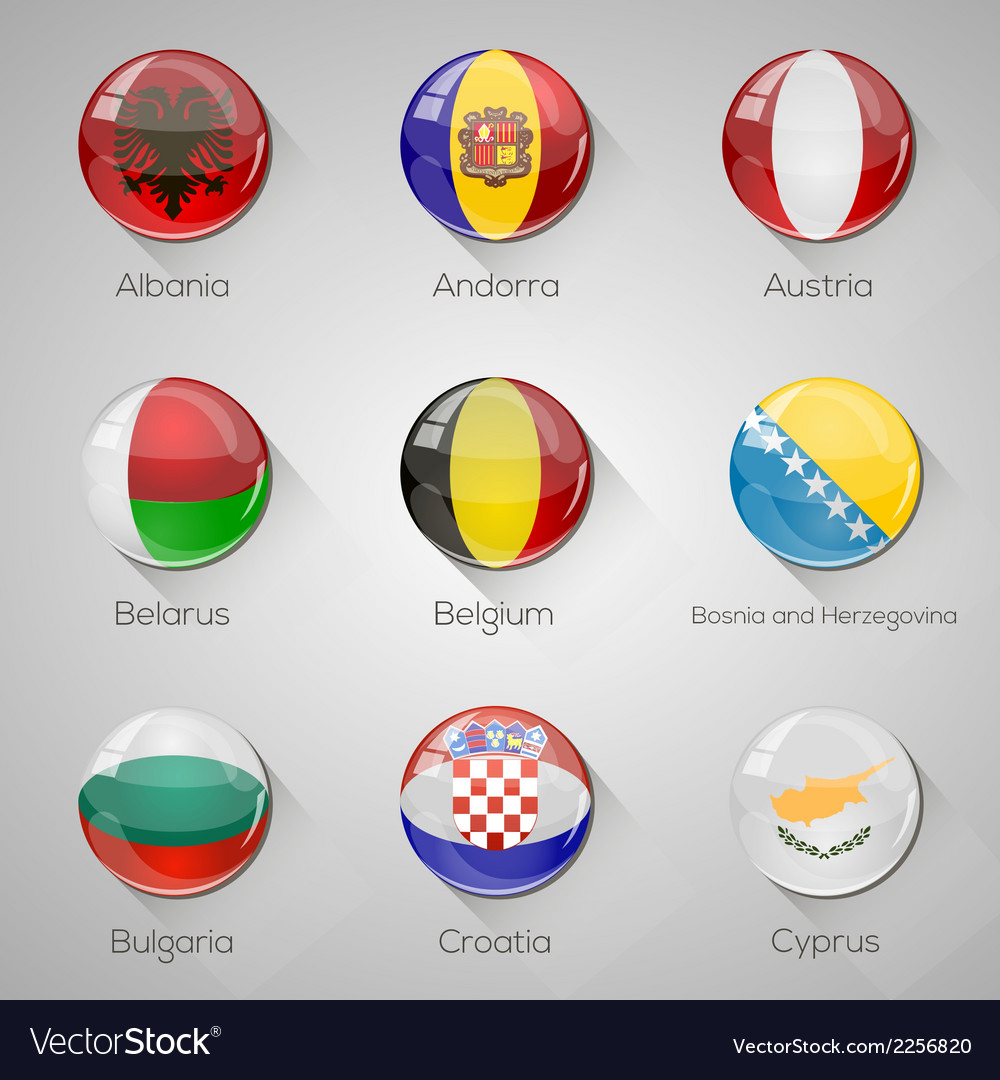 European flags set glossy buttons with vector image