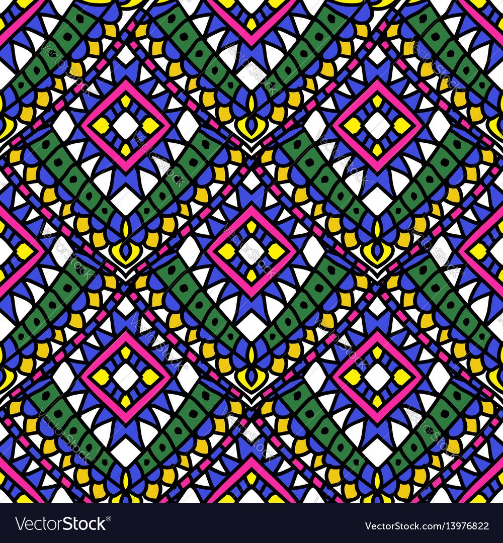 Green colored summer ethnic seamless pattern vector image