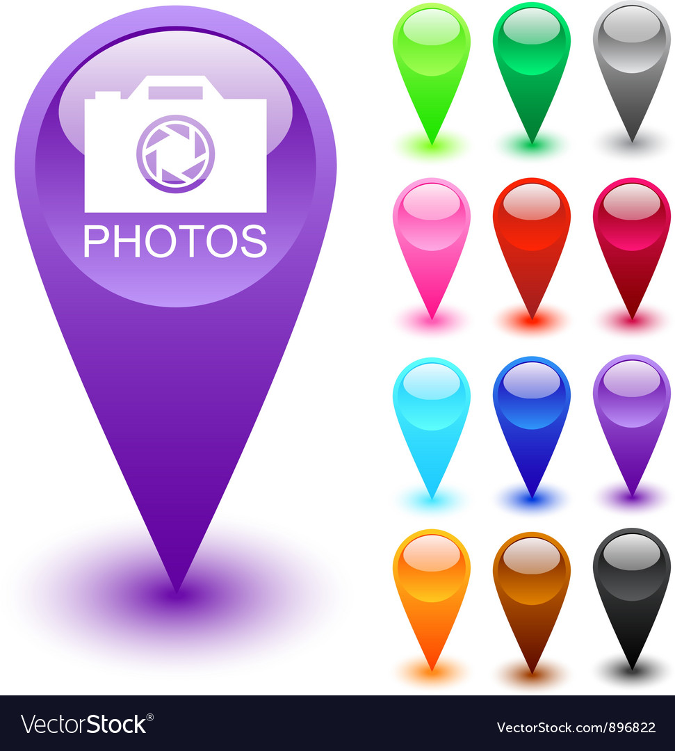 Photos button vector image