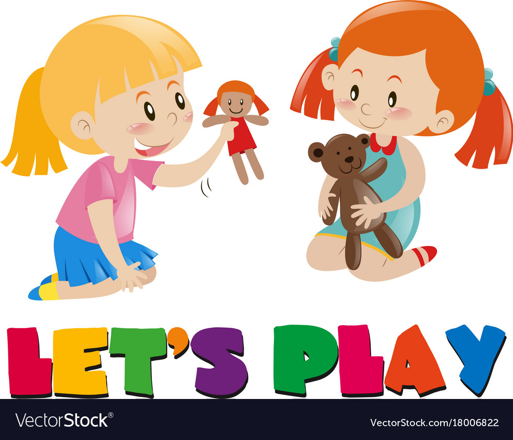 Kids Playing With Dolls Clipart