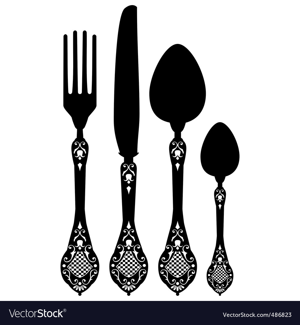 Cutlery silhouettes vector image
