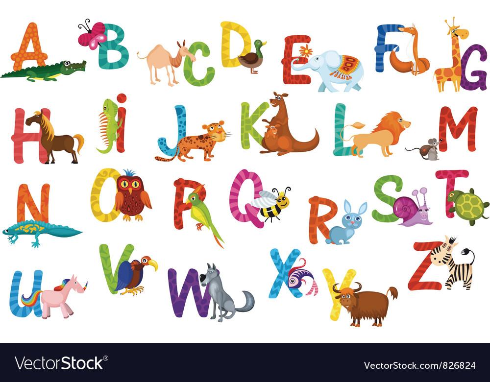 Animals alphabet vector image