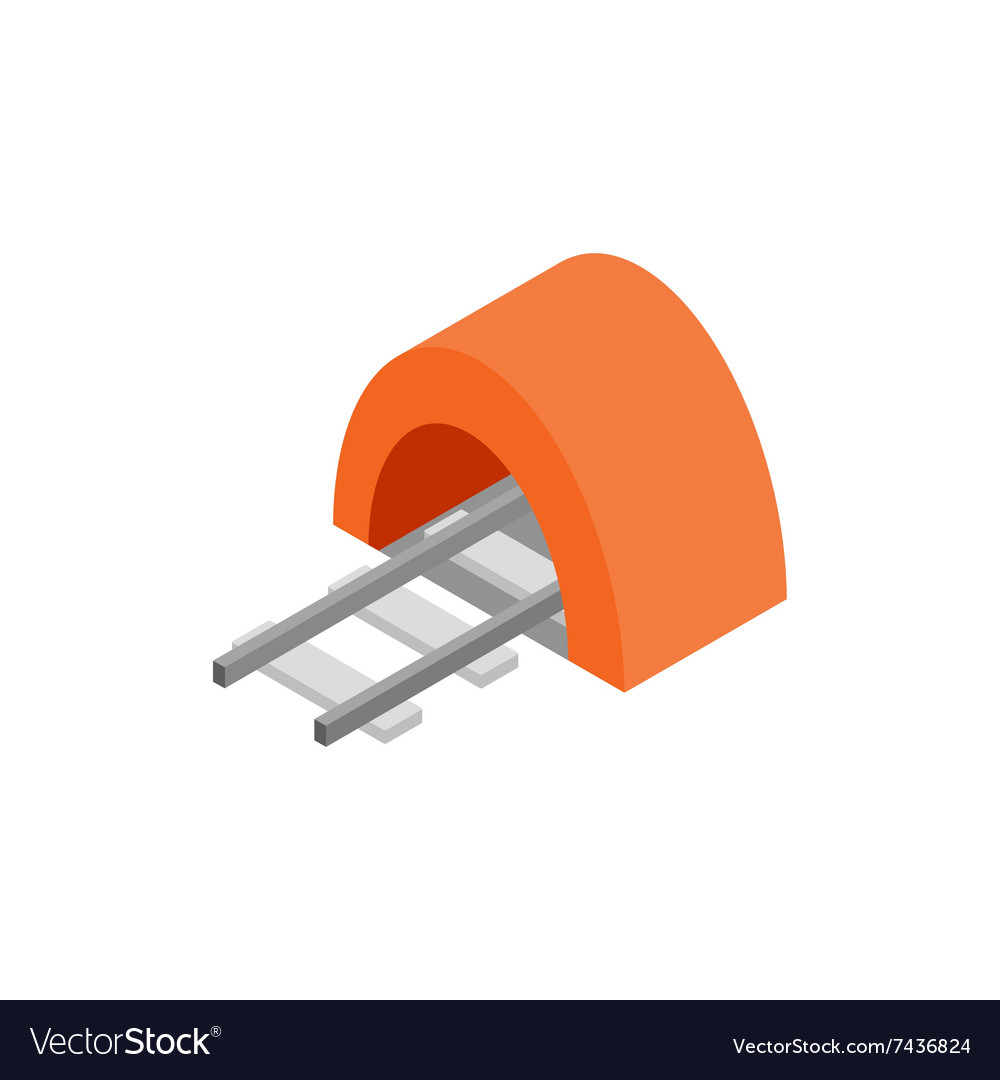 Railway tunnel isometric 3d icon vector image