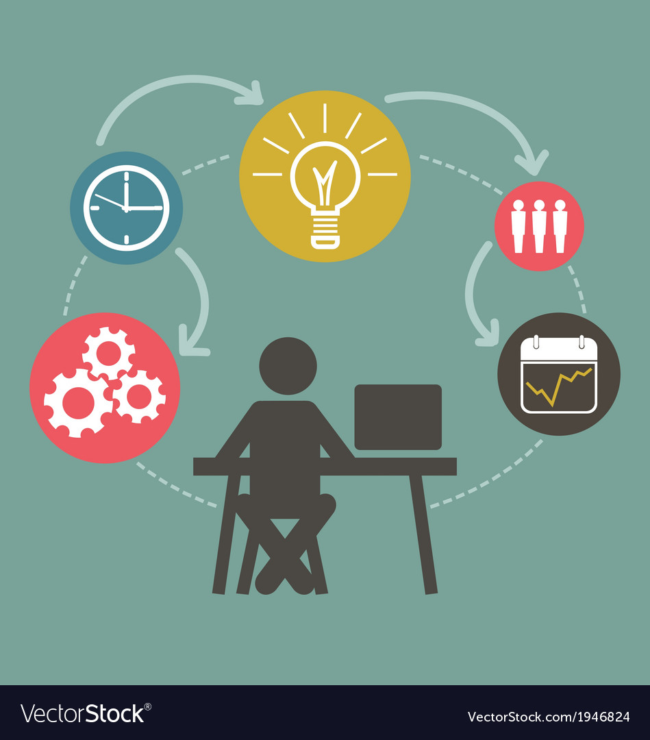 Schematic info graphic with businessman vector image